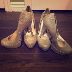 Platform glitter gold and silver sparkle heels